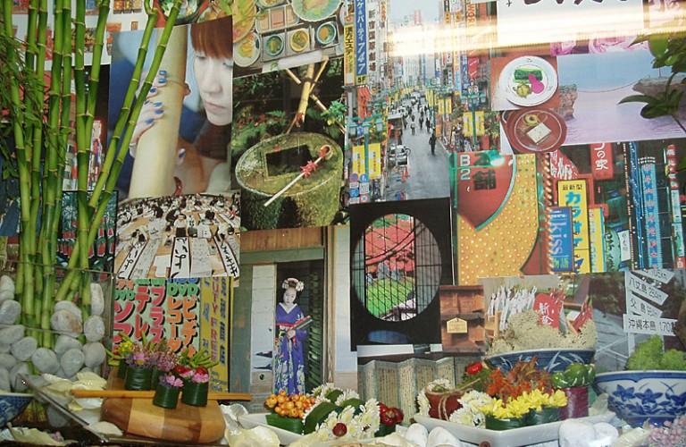 Arredamento floreale vetrina negozio giapponese - dettaglio sushi flowers - San Benedetto del Tronto